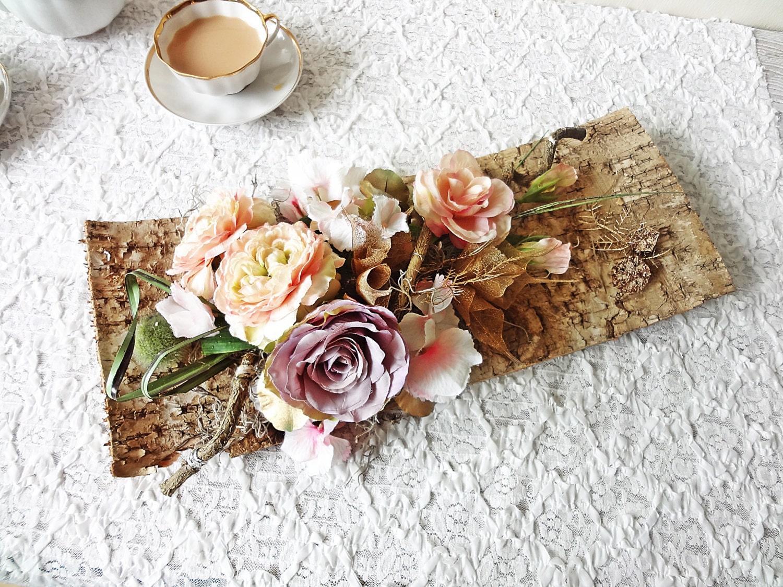 Birch bark table centerpiece/ rustic wedding decor garden