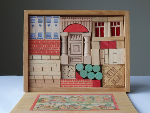 Vintage Puzzle Building Blocks Wood Building By Averyandallen