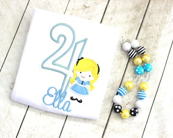 Alice in Wonderland chunky necklace blue black and yellow birthday girls bubblegum necklace girl chunky bubble gum bead necklace birthday