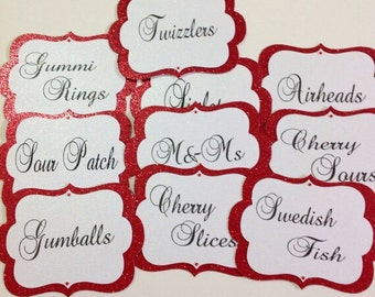 Candy Buffet Tags, Candy Buffet Jar Lables, Food Tags, Food Labels, Red Candy Tags