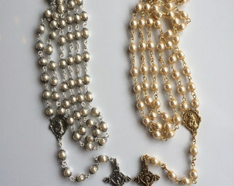 Swarovski pearls and crystals linked Rosary with gold accents
