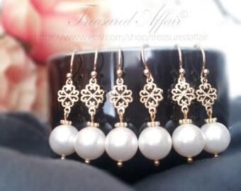 Bridal Bridesmaid Earring Set 1 - 9, Pearl Bridal Earrings, Gold Bridal Earrings, Bridesmaid Earring Sets, Wedding, Personalized, Set of 3-8