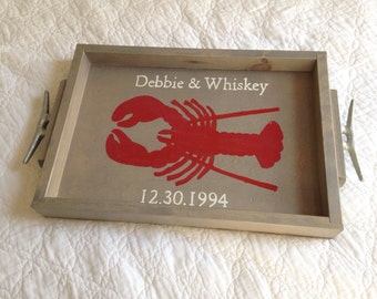 Personalized Lobster Wooden Tray || nautical wedding gift, personalized wedding gift, nautical barware