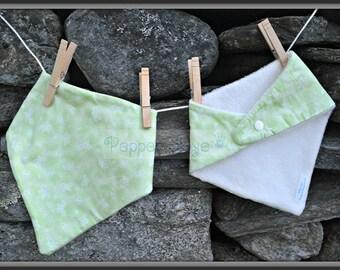 Spring Butterflies on Green Bandanna Baby Bib