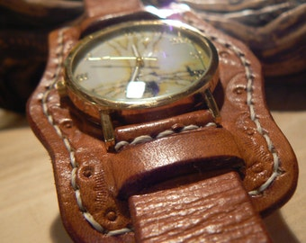 Mens watch,  leather strap, Brown Leather watch , mens wrist watch