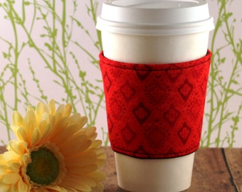 CLEARANCE / Fabric Coffee Cozy / Red Diamonds Coffee Cozy / Red Coffee Cozy / Coffee Cozy / Tea Cozy