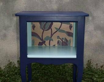 BALANCES! Blue vintage nightstand at night