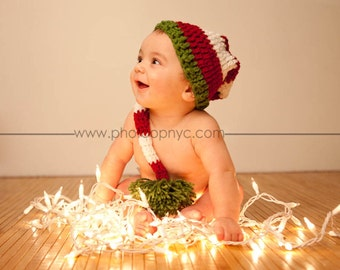 Santa Hat Kids Baby Newborn Santa Hat Kids Santa Hat crochet photo props Infant Toddler Kids Custom Striped Holiday Gifts Christmas Gif