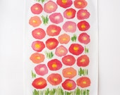 Watercolor Poppies tea towel • pink and coral watercolor • linen-cotton blend