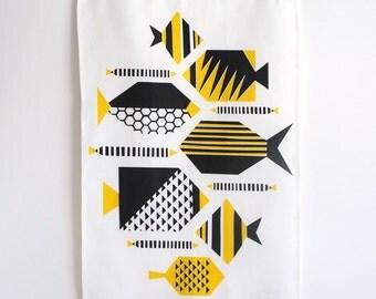 Yellow geometric tea towel  •  modern ocean/fish design