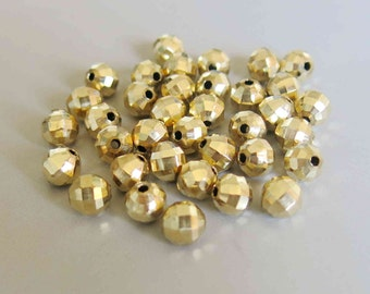 100pcs Raw Brass Round Faceted Beads 8mm - F95