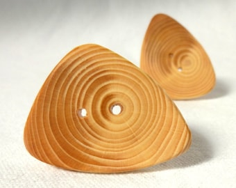 """2 pce Very Smooth Large Buttons, Wooden Buttons, Large Wood Button, Handmade Tree Branch Button 2pce 1.5"""" or 38mm"""
