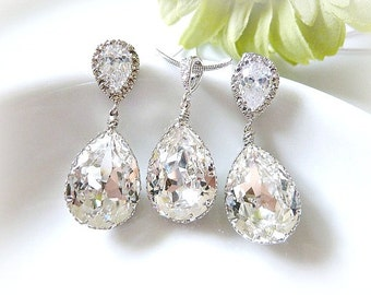 Pear Drop Swarovski Crystals In White Gold Bridal Earrings And Necklace Set - Bridal Jewelry Set, Bridesmaid Jewelry Set, Wedding Set