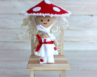 Mini Doll fly-agaric, Rag doll fly-agaric, cloth doll fly-agaric, doll with blond hair, textile doll, pocket doll, gift for girls