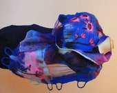 Very large painted silk georgette and merino wool shawl/wrap