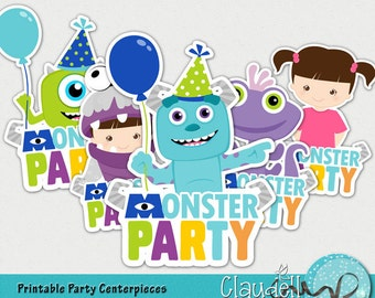 Monsters Colors Inspired Printable Centerpiece / Party Signs - 300 DPI