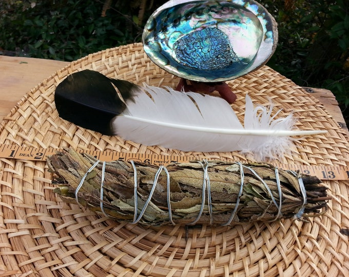 Large Yerba Santa Smudging Kit ~ 1 each Yerba Santa Bundle approx 8~9 inches, 5~6 inches abalone shell and stand, feather