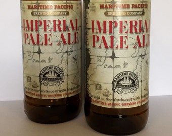 Upcycled Beer Bottle Drinking Glasses. Imperial Pale Ale. Recycled Glass Bottle.