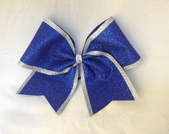 Cheer Bow - Royal Blue Glitter with Silver Glitter Edge