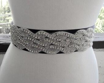 Black Wedding Belt Sash,Bridal Sash,Best seller sash,Rhinestone Crystal Sash,Beaded Sash