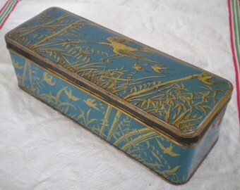 Vintage 1920s Tin Box Made in France Herons on Blue and Gold