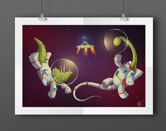 Space Dinosaurs A3 Illustration Print