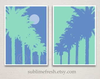 Tropical Palm Tree 5x7 Art Print Set Wall Decor (Featured colors: Norwegian Blue & Seafoam--choose your own colors)