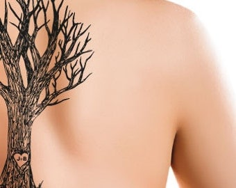 Tree Initials Temporary Tattoo - Rub On Individual Design (Personalize with your Initials)