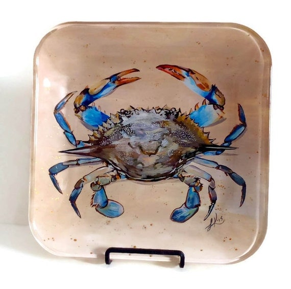 blue crab nautical home decor glass plate by lkcustomcreations