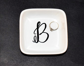 Personalized Ring Dish // Initial Ring dish // Handpainted Ring Dish //  Ring Dish // Jewelry Dish