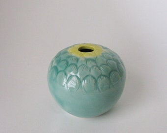 celadon blue green yellow lidded vessel / nature  inspired jar / porcelain container by echo of nature, yumiko goto