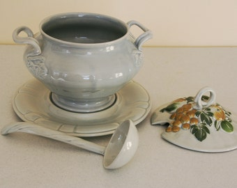Gustin tureen set-platter-covered tureen-ladle-ceramic soup serving set-grey pottery-mid century dining-N S Gustin
