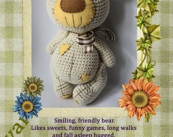 Amigurumi teddy bear with patch soft toy crochet pattern - (IN ENGLISH LANGUAGE)
