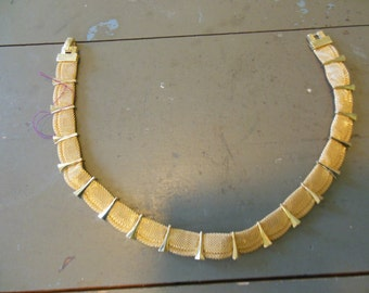 Trifari Goldtone Wrapped Mesh Bib Necklace