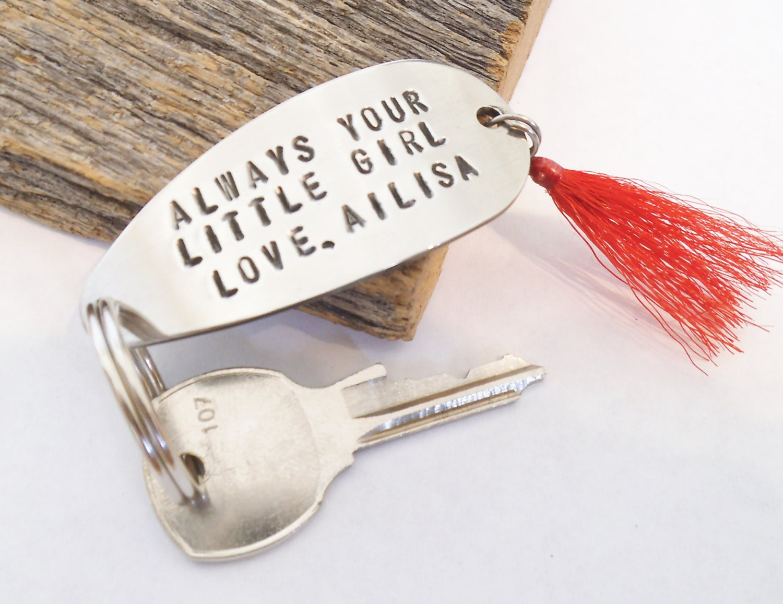 Father Gifts Wedding: Always Your Little Girl Keychain Wedding Gift For Dad Fishing
