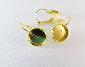 D-00278 - 6 Lever back hoop earrings gold 12mm
