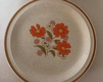 Colorstone plate with orange flowers EUC
