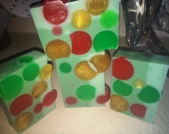 Christmas in a bar, Handmade soap, pine scent, GOAT MILK, strong scent, 3 butter soap, body bar, bubbly lather, soap on sale