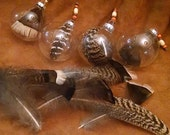 Glass ball Turkey Feather Ornaments ~ set of 6