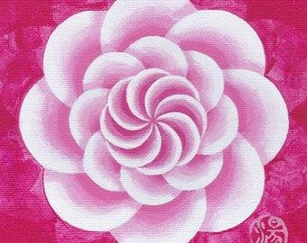 Original Mandala painting: Mandala #37, Magenta Camillia