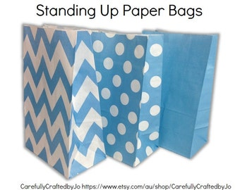 Set of 12, 24 Blue - Chevron, Polka Dots, Plain (Solid)Paper Bag Flat Bottom Bags, Gift Bags, Party, Lolly,Favour, Wedding, Packaging, Loot
