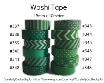 Washi Tape - Green - 15mm x 10 metres - High Quality Masking Tape