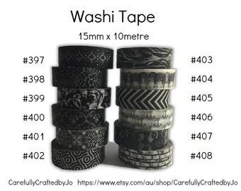 Washi Tape - Black - 15mm x 10 metres - High Quality Masking Tape