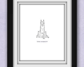 Duke University Chapel Minimalist Print
