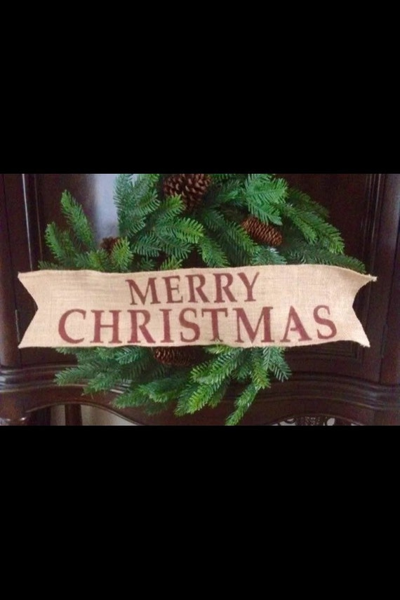 Primitive Merry Christmas Wired Jute Burlap Ribbon Banner Ornament Garland