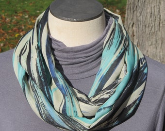 Infinity Scarf , shades of blue and aqua with creamy beige abstract print