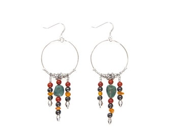 Alexandra Earrings; for Strength and Focus | made with Jasper, Amber, Hematite and Turquoise- silver hoop and gemstone dangle earrings