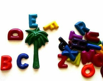 Alphabet Crayon Loot / Goodie bag Party Favors Set of 6 - chicka chicka boom boom party theme, coconut tree, palm tree