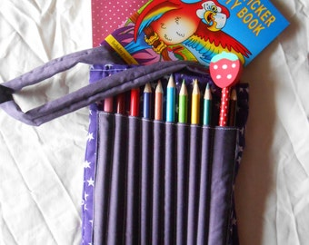 Purple star crayon bag