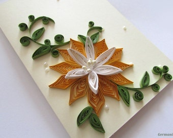 Anniversary Card, Flower Birthday Card, Quilling Greeting Card, I Love You Card, Blank card, Blank Birthday Card